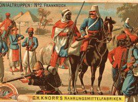 Französische Kolonialtruppen um 1900 in einer zeitgenössischen Darstellung.