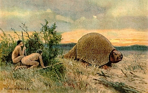 Glyptodon old drawing - Pleistozaen