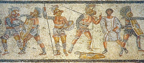 800px-Gladiators from the Zliten mosaic 3