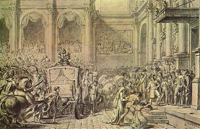 Ankunft Napoleons vor dem Rathaus