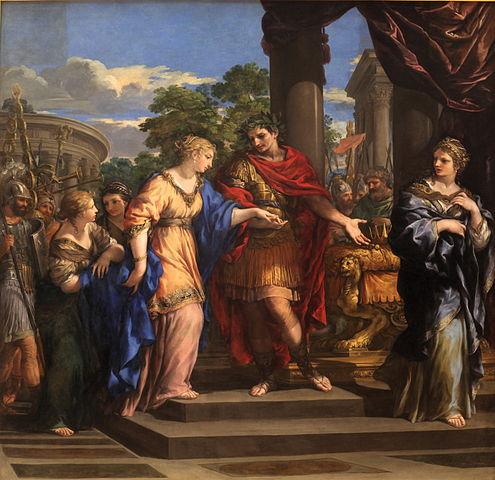 Caesar uebergibt Kleopatra den Thron von Aegypten