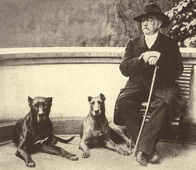 Bismarck mit seinen Hunden im Jahr 1891