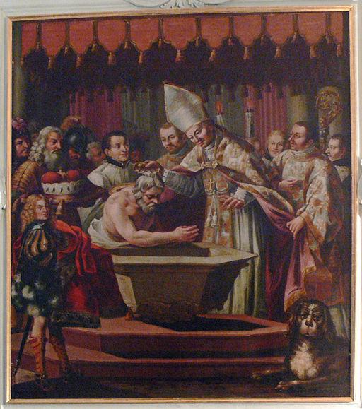 Salzburg St Peter Gemaelde Taufe 1