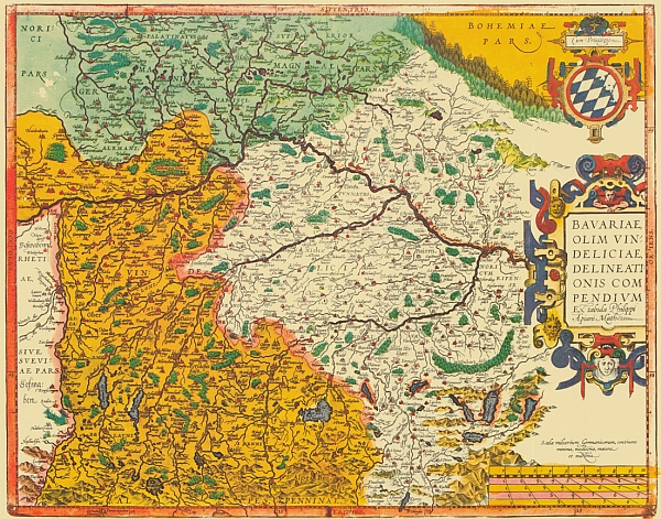 Die Seefried-Karte von Bayern. Noricum wird extra erwähnt.