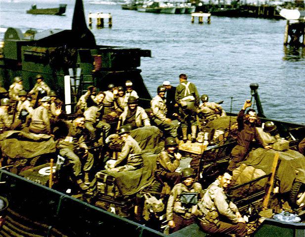 Amerikanische Truppen auf einem Transportschiff