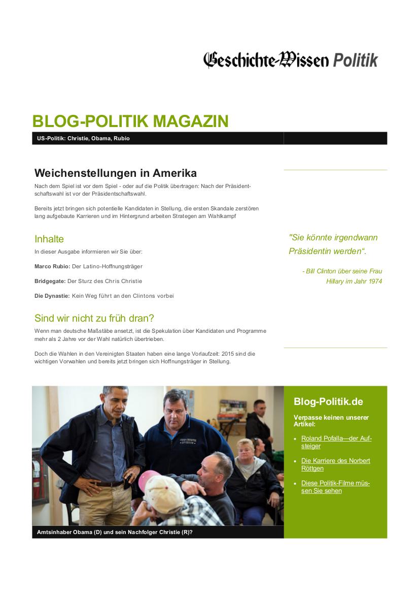 Politik-Magazin: Weichenstellungen in Amerika