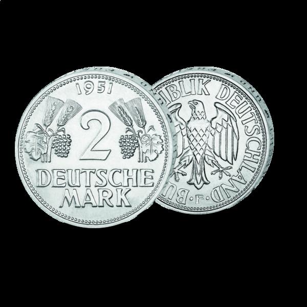 2 DM Mark Münze - Vorder- und Rückseite