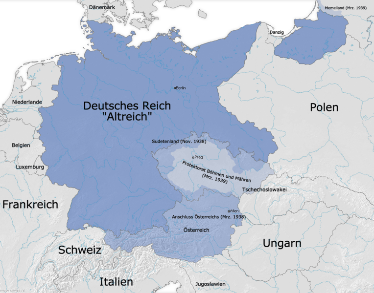 Eine Karte des deutschen Reiches