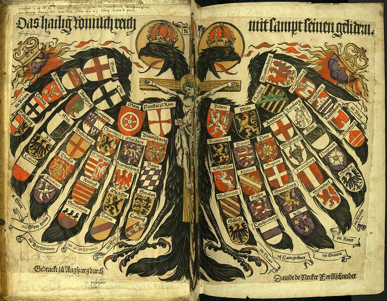 Die Wappen der Stände des Heiligen Römischen Reichs; oben die Wappen der Kurfürsten