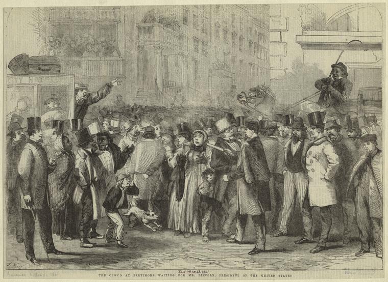Die Menge erwartet Lincoln