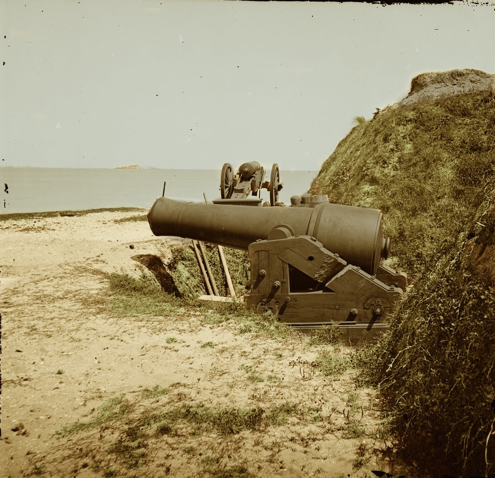 1865 Charleston S.C. Guns of Fort Johnson Fort Sumter in distance Colored Sepia