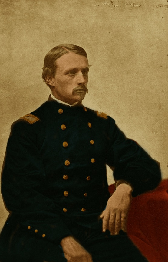 1863 Colonel Robert Shaw sitting facing right Colored Sepia