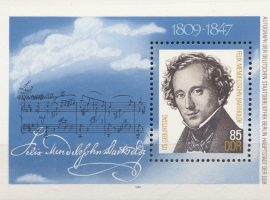 Die zum 175. Geburtstag Felix Mendelssohn-Bartholdy im Jahr 1984 herausgegebene DDR-Briefmarke