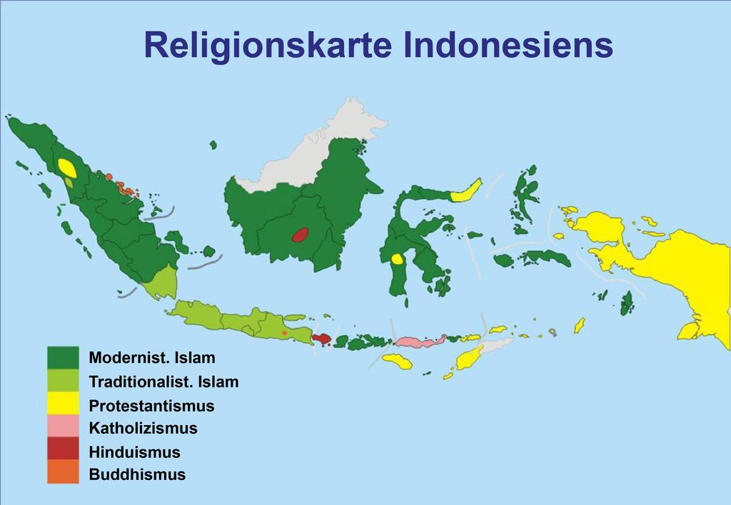 Karte und Religionen Indonesiens