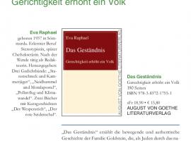 Vorstellung des Buches Das Geständnis von Eva Raphael