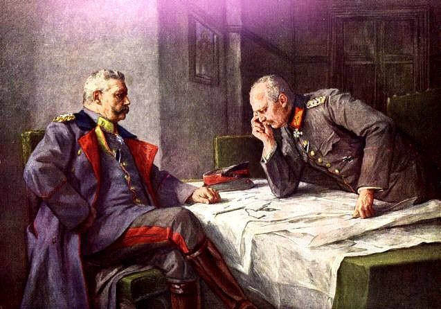 Paul von Hindenburg und Erich Ludendorff. Gemälde von Professor Hugo Vogel.