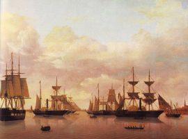 Die Reichsflotte vor Bremerhaven mit den Schiffen: Deutschland, Hamburg, Bremen, Lübeck, Barbarossa, Ernst August, Hansa.
