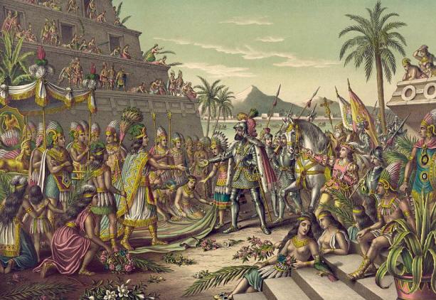 Cortez trifft den Fürsten Moctezuma in Technotitlan
