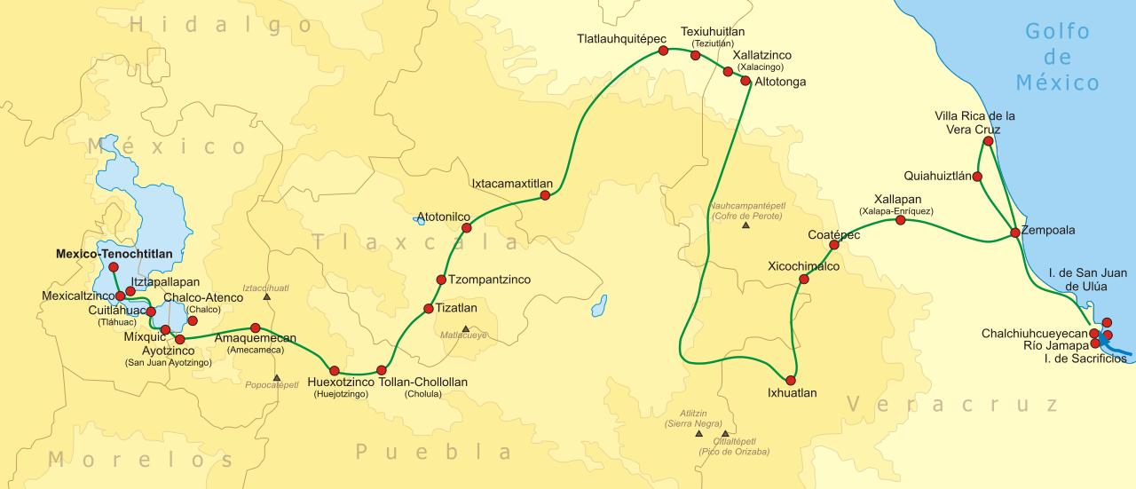 Eine Karte, die den Feldzug der Spanier bis nach Technotitlan zeigt. Die Karte stammt von Yavidaxiu (Eigenes Werk) [GFDL (http://www.gnu.org/copyleft/fdl.html) oder CC BY 3.0 (http://creativecommons.org/licenses/by/3.0)], via Wikimedia Commons