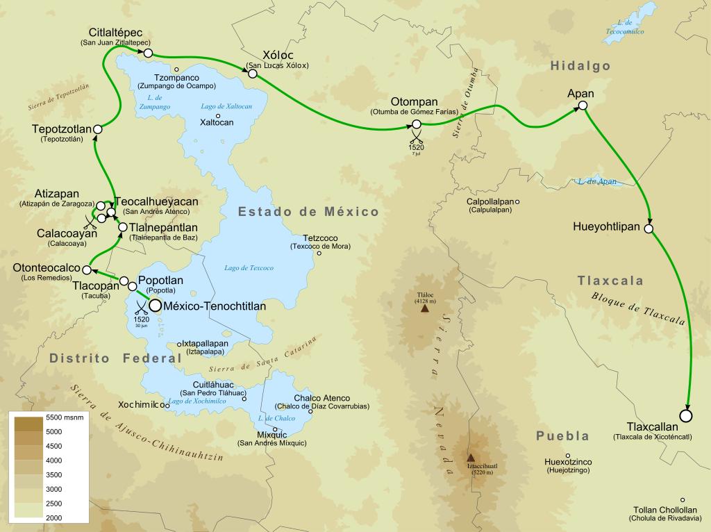 Die Karte zeigt den Rückzug Cortes nach der Flucht aus Tenochtitlan von Yavidaxiu (Own work) [CC BY-SA 3.0 (http://creativecommons.org/licenses/by-sa/3.0)], via Wikimedia Commons