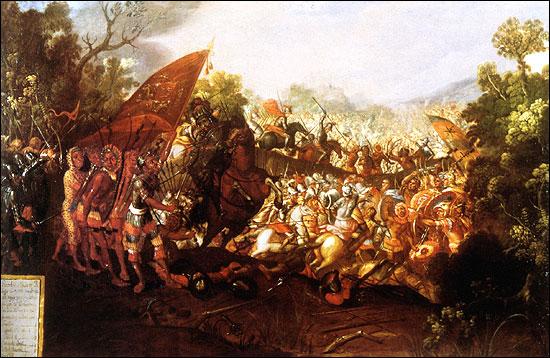 Bei der Schlacht von Otumba konnten die Spanier eine Übermacht der Azteken dank Disziplin und einer schlagkräftigen Reiterei in die Flucht schlagen.