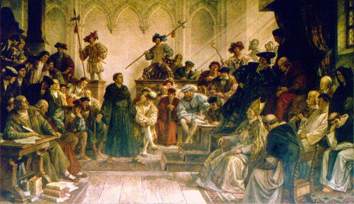 Luther vor Karl V. auf dem Reichstag zu Worms 1521. Wandgemälde (um 1880) von Hermann Wislicenus (1825-1899) in der Kaiserpfalz Goslar.