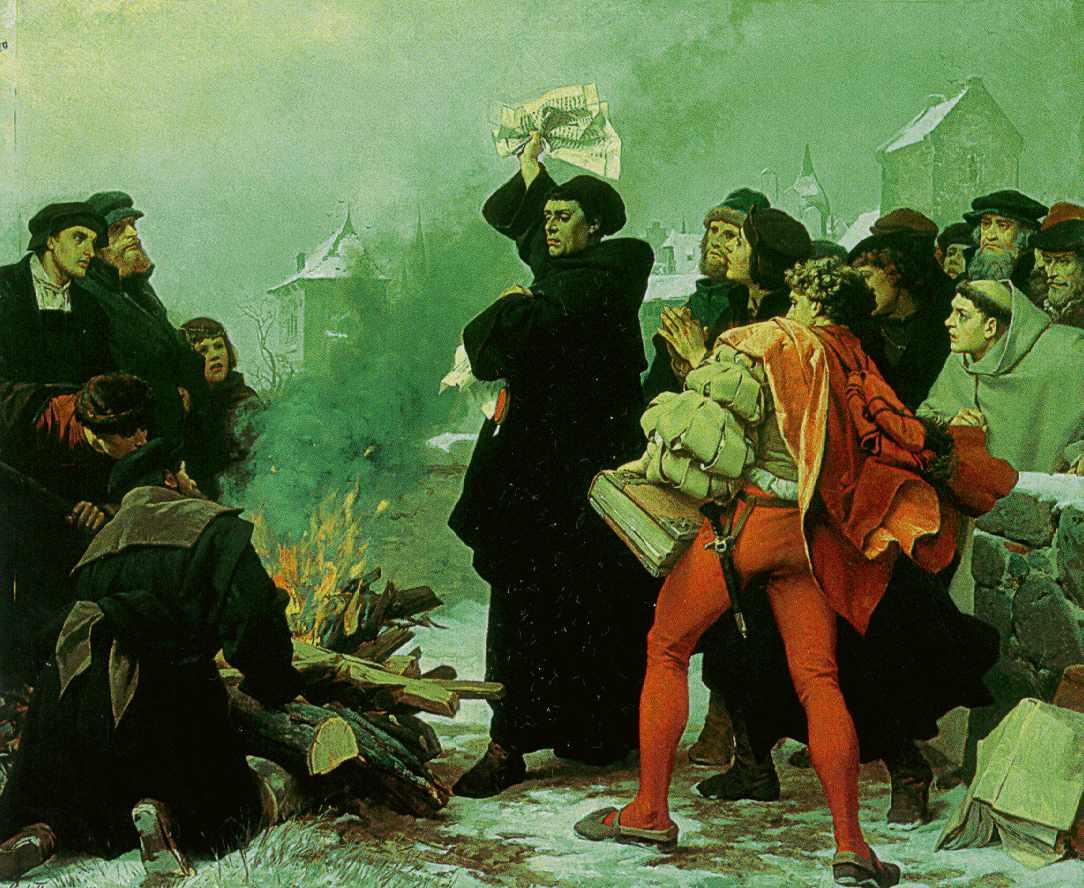 Luther verbrennt 1520 in Wittenberg die Bannandrohungsbulle - Bild von Paul Thumann