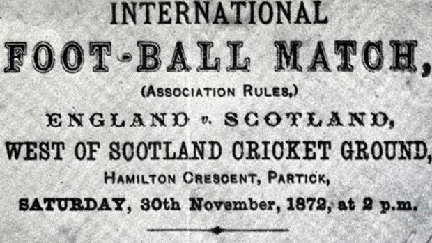 Werbung für das Länderspiel England gegen Schottland von 1872