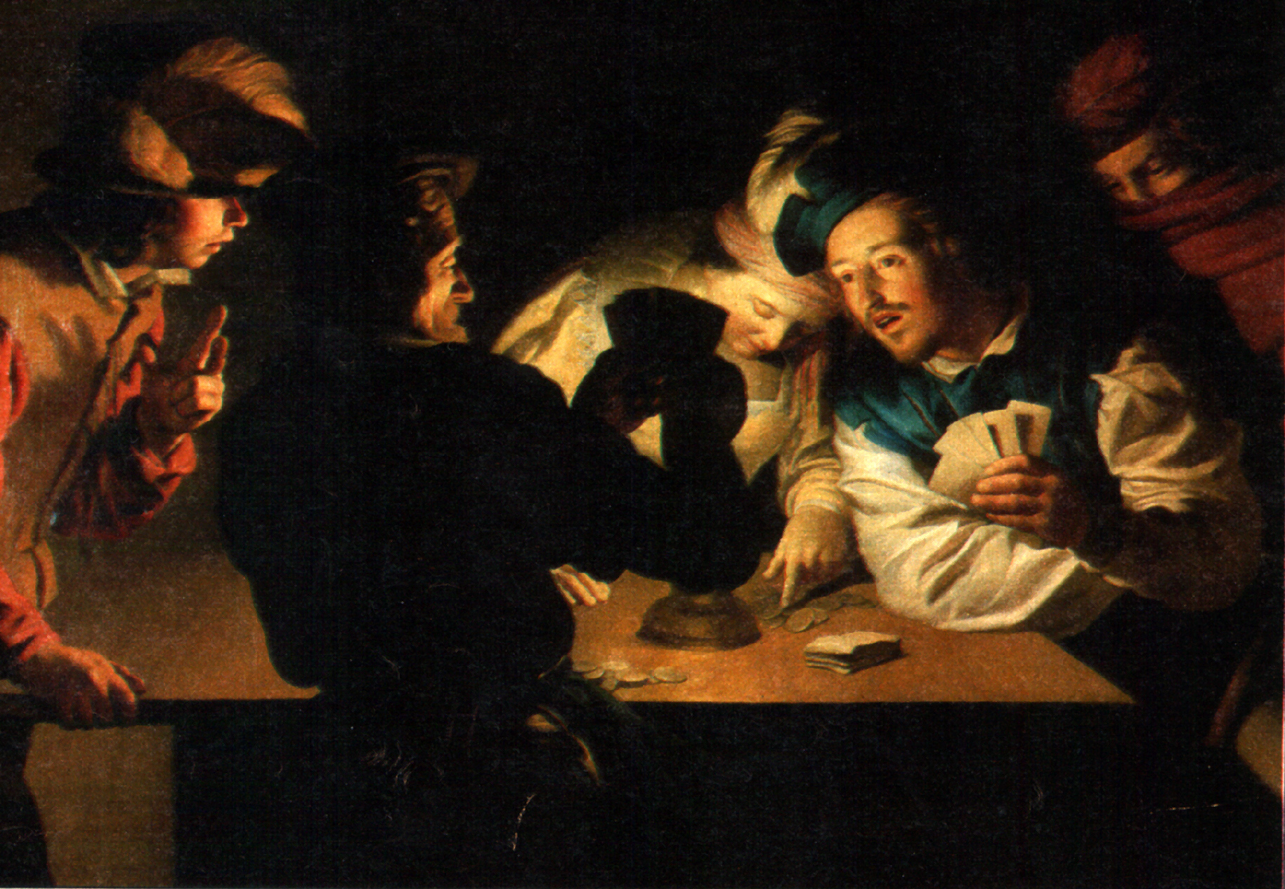 Die Falschspieler, Gemälde (125 x 190 cm) von Gerard van Honthorst (1590-1656), Museum Wiesbaden, Wikimedia