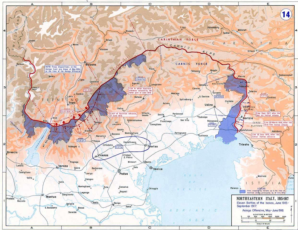 Die Front verlief vom Stilfser Joch über den nördlichen Gardasee bis zum Paternkofel