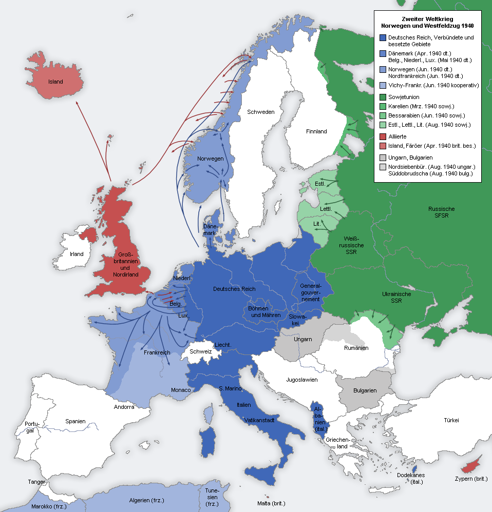 Europa im Zweiten Weltkrieg, https://commons.wikimedia.org/wiki/File:Second_world_war_europe_1940_map_de.png