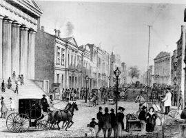 Eine Zeichnung, wie die Wall Street 1867 aussah. Die Wallstreet ist zum Synonym des globalen Aktienhandels geworden.