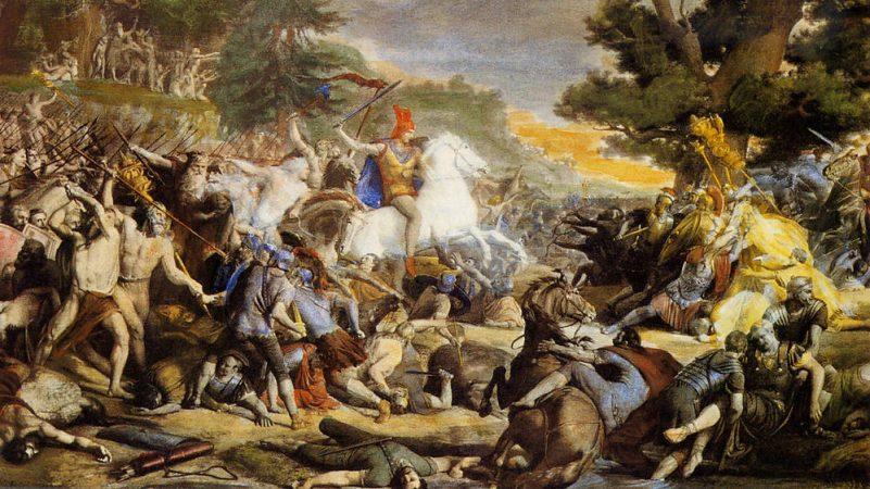 """Das Gemälde """"Hermannsschlacht"""" wurde von Friedrich Gunkel geschaffen und im II. Weltkrieg zerstört."""
