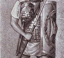 Ein Römischer Legionär mit einem Pilum.
