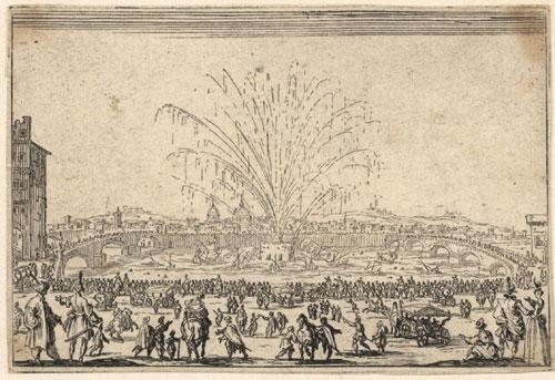 Le feu d'Artifice sur l'Arno Stich von Jacques Callot, 17. Jahrhundert