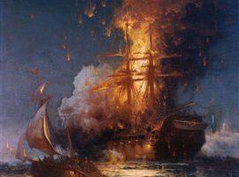 Die brennende Fregatte USS Philadelphia im Hafen von Tripolis (16. Februar 1804), gemalt 1897 von Edward Moran, Quelle: Wikimedia (gemeinfrei)