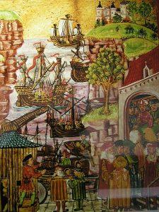 Ausschnitt aus dem Hamburger Stadtrecht von 1497, Aspekt Seerecht (Ausschnitt), Ausstellungsstück im Museum für Hamburgische Geschichte: http://www.hamburgmuseum.de, Bild von ebastian Sonntag, Orginalkünster vermutlich Absolon Stumme, https://de.wikipedia.org/wiki/Datei:Stadtrecht_seefahrt.jpg