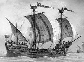 Hansekogge, um 1480, mit Lübecker Flaggen - Bild von Lüder Arenhold (1854-1915), Quelle: Kaiserlicher Yacht-Club Kiel, Stadtmuseum Kiel, https://commons.wikimedia.org/wiki/File:Hansekogge_1480.jpg