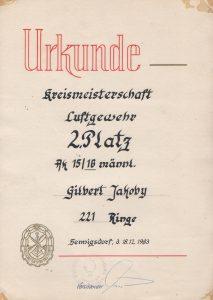 Urkunde Kreismeiserschaft 1983