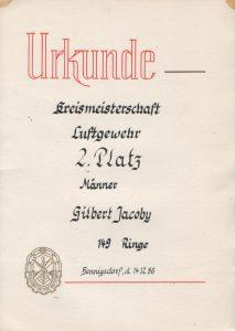 Urkunde Kreismeiseterscchaft 1986