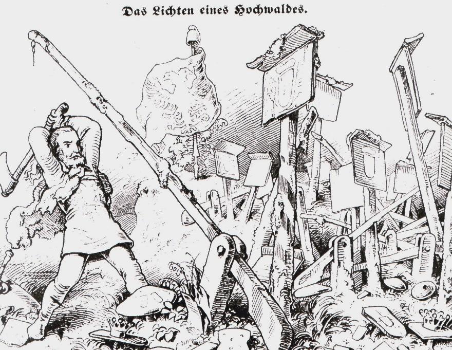 """Karikatur zu Kleinstaaterei in Deutschland (zeitgenössische Darstellung """"das Lichten eines Hochwaldes"""", Illustration aus """"Fliegende Blätter"""" (satirische Zeitschrift, erschienen in München), Jg. 1847, bd. 6, nr. 140, s. 157.) Bild von Machahn 14:08, 24 June 2007 (UTC) [Public domain] https://commons.wikimedia.org/wiki/File:Zollschranken.jpg?uselang=de"""