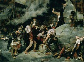 Das Ölgemälde aus dem Jahr 1887 zeigt die Verfolgung und Tötung von Juden.