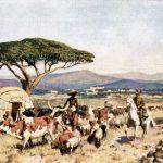 """Das Bild zeigt eine idealisierte Szene aus der Kolonie. Quelle: Das Buch von unseren Kolonien"""" von Ottomar Beta, Leipzig 1908"""