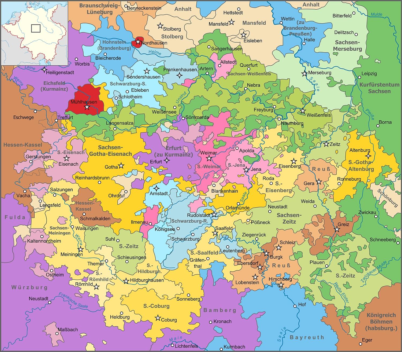 Die Karte zeigt Thüringen und angrenzende Gebiete im Heiligen Römischen Reich im Jahr 1680 und verdeutlicht, wie stark einzelne Adelsgeschlechter das Land prägten, das einem Flickenteppich ähnelte. Map_of_Thuringia_(1680)-NL.svg: Sir Iainderivative work: Furfur, CC BY-SA 3.0 , via Wikimedia Commons
