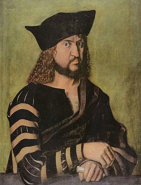 Friedrich der Weise, Kurfürst von Sachsen, auf einem Porträt von Albrecht Dürer, war Schutzherr Martin Luthers bezeichnet.