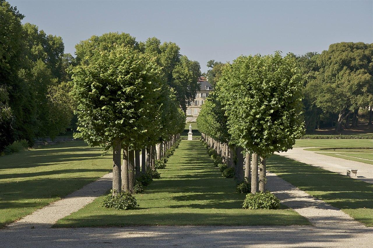 Das Bild zeigt einen der zwei Philosophenwege im Park des Schlosses. Prägend für die Gartengestaltung war eine symnetrische Anordnung. Lizenz: André Le Nôtre, CC0, via Wikimedia Commons