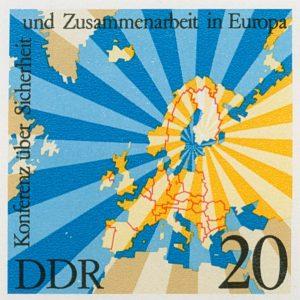 Markenausgabe der DDR von 1975 im Zusammenhang mit der Unterzeichnung der KSZE-Schlussakte